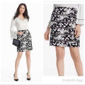 WHBM Floral Lattice Pencil Skirt